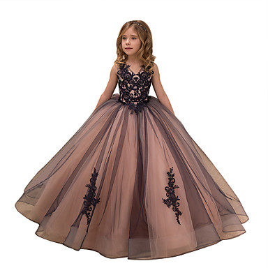 cheap Baby & Kids-Ball Gown Maxi Flower Girl Dress - Tulle / Satin Chiffon Sleeveless V Neck with Appliques / Embroidery / Lace by LAN TING Express