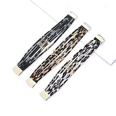 voordelige Herensieraden-Heren Dames Lederen armbanden Dubbel Gelaagd donuts modieus tekonahka Armband sieraden Wit / Zwart / Koffie Voor Dagelijks