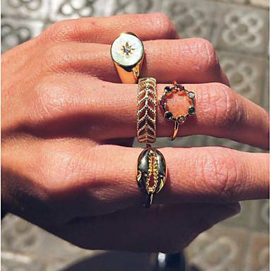 billige Motering-Dame Ring Ring Set Midiringe 4stk Gull Strass Legering Enkel Europeisk trendy Daglig Karneval Smykker Klassisk Skall Kul