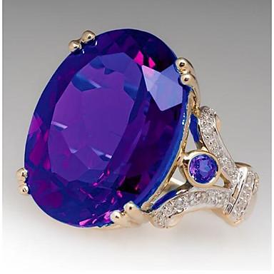 levne Dámské šperky-Dámské Zásnubní prsten Syntetický akvamarín 1ks Fialová Žlutá Modrá Měď Geometric Shape stylové Svatební Párty Šperky Klasika Radost Nálada Cool