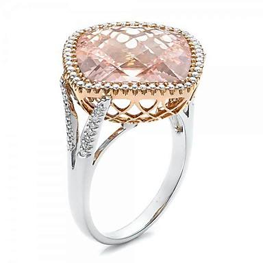 billige Motering-Dame Band Ring Ring Kubisk Zirkonium 1pc Lysebrun Kobber Gullplatert rose Geometrisk Form trendy Fest Gave Smykker Fisk Kul