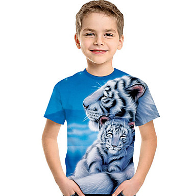 cheap Boys' Tops-Kids Toddler Boys' Active Basic Tiger Print 3D Animal Print Short Sleeve Tee Light Blue