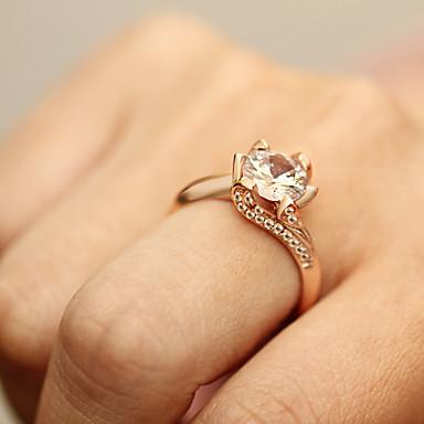 levne Dámské šperky-Dámské Prsten Křišťál 1ks Zlatá Stříbrná Slitina Jednoduchý Evropský Módní Párty Denní Šperky Solitaire Kytky Cool