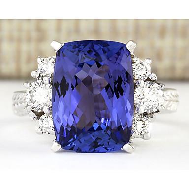 billige Båndringe-Dame Band Ring Ring Kvadratisk Zirconium 1pc Blå Plastik Geometrisk form Stilfuld Luksus Fest Gave Smykker Klassisk Sej