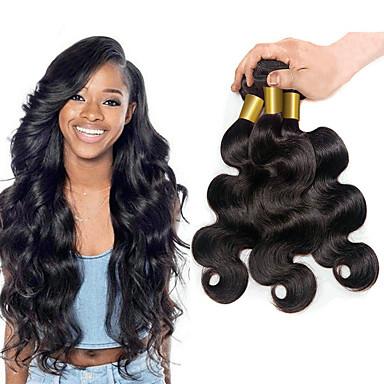 hesapli Postişler-3 Paket Düz Brezilya Saçı Vücut Dalgası Virgin Saç İnsan saç örgüleri Gerçek Saç Postişleri 8-28 inç Doğal Renk İnsan saç örgüleri Siyahi Kadınlar İçin 8a Bedava dökülme İnsan Saç Uzantıları / 10A