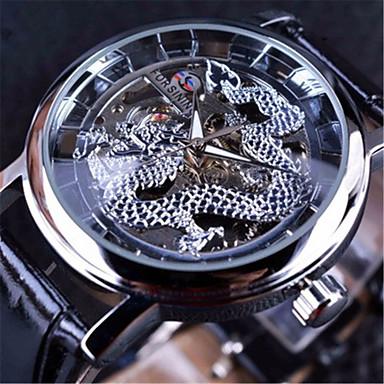 levne Pánské-FORSINING Pánské mechanické hodinky Automatické natahování Pravá kůže Černá S dutým gravírováním Velký ciferník Analogové Na běžné nošení Czaszka - Černá Černá / Stříbrná Bílá / Stříbrná