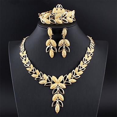 levne Dámské šperky-Dámské Stříbrná Zlatá Svatební šperky Soupravy Link / řetězec Leaf Shape Botanický motiv Vintage Náušnice Šperky Zlatá / Stříbrná Pro Svatební Zásnuby Dar 1 sada