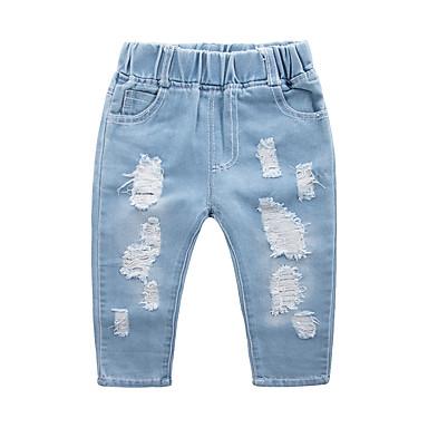 povoljno Odjeća za dječake-Djeca Dječaci Osnovni Ulični šik Color block Izrezati Traperice Plava