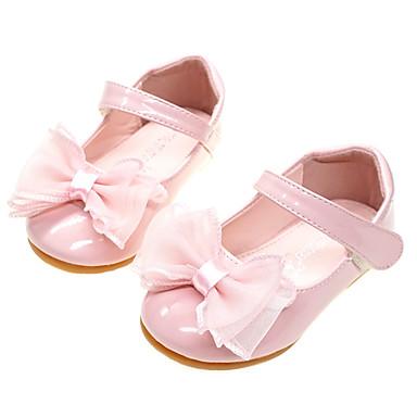 voordelige Babyschoenentjes-Meisjes Comfortabel / Bloemenmeisjesschoenen PU Platte schoenen Peuter (9m-4ys) Strik Wit / Licht Roze Lente / Herfst / Feesten & Uitgaan / Rubber