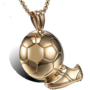 povoljno Modne ogrlice-Muškarci Ogrlice s privjeskom Klasičan Lopta Moda Titanium Steel Zlato 55 cm Ogrlice Jewelry 1pc Za Dar Dnevno