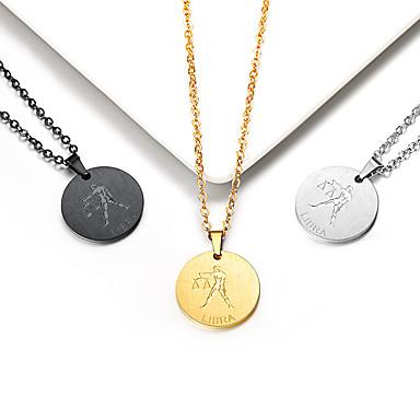 levne Dámské šperky-Dámské Náhrdelníky s přívěšky Náhrdelník Charm náhrdelník Mince Gemini Váhy Jednoduchý Moderní Módní Pozlaceno 18k Titanová ocel Zlatá Černá Stříbrná 55 cm Náhrdelníky Šperky 1ks Pro Promoce Dar