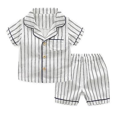 preiswerte Unterwäsche & Socken für Jungen-2pcs Kinder Jungen Aktiv Grundlegend Gestreift Streife Schnalle Baumwolle Schlafanzüge Blau