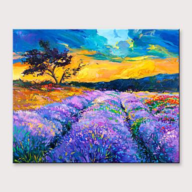 povoljno Ukrašavanje zidova-Hang oslikana uljanim bojama Ručno oslikana - Pejzaž Cvjetni / Botanički Moderna Bez unutrašnje Frame