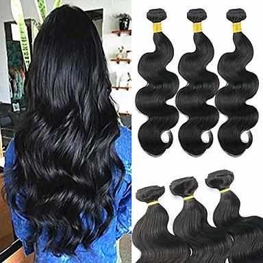 povoljno Ekstenzije od ljudske kose-6 paketića Brazilska kosa Tijelo Wave Virgin kosa Ljudske kose plete Bundle kose Jedan Pack Solution 8-28 inch Prirodna boja Isprepliće ljudske kose Odor Free Najbolja kvaliteta Novi Dolazak