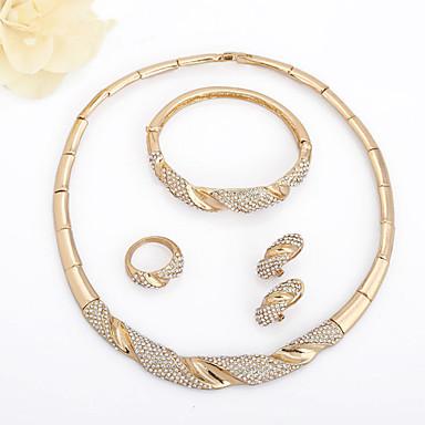levne Dámské šperky-Dámské Bílá drobný diamant Kotníkové náramky Náušnice - Kruhy Náhrdelník Geometrické Fáze Měsíce U tvar Smát se Přizpůsobeno Jednoduchý Klasické Evropský Afrika Pozlaceno 18k Zlaté Umělé diamanty