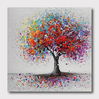 Hand Painted Stretched Oil Painting Canvas Ready to hang Abstract  Style Material High Quantity Trees Wall Art Modern Trees Purple