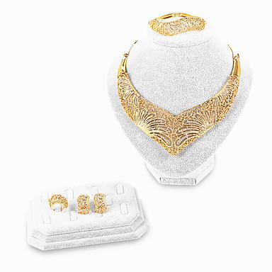 levne Dámské šperky-Dámské Zlatá Kotníkové náramky Svatební šperky Soupravy Srdce Galaxie Prohlášení umělecké Geleneksel Afrika Lidová Style Zlaté Umělé diamanty Náušnice Šperky Zlatá Pro Vánoce Svatební Párty Zásnuby