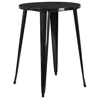 Astounding 208 94 Modern 30 Inch Outdoor Round Metal Cafe Bar Patio Table In Black Theyellowbook Wood Chair Design Ideas Theyellowbookinfo