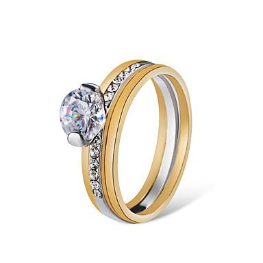 billige Motering-Dame damer Ring Ring Set Løftering Krystall 2pcs Sølv Gullbelagt Fuskediamant Legering Kunstnerisk Mote søt stil Bryllup Engasjement Smykker Smuk