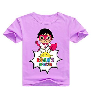 povoljno Odjeća za dječake-Djeca Dijete koje je tek prohodalo Dječaci Osnovni Print Print Kratkih rukava Pamuk Majica s kratkim rukavima Blushing Pink