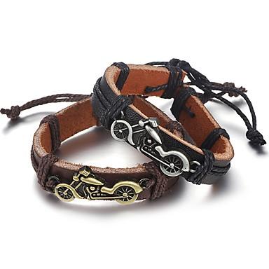 levne Pánské šperky-Pánské Kožené náramky Pletený Moto Moderní Koženka Náramek šperky Černá / Hnědá Pro Denní