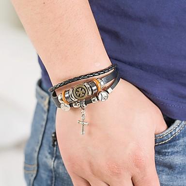 voordelige Herensieraden-Heren Wikkelarmbanden Gevlochten Kruis Punk tekonahka Armband sieraden Zwart Voor Dagelijks