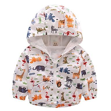 cheap Boys' Jackets & Coats-Kids Boys' Street chic Print Print Regular Jacket & Coat Blue
