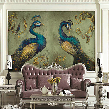 cheap Wall Art-Art Deco / Pattern / Animal Home Decoration Classic / Modern Wall Covering, Canvas Material Adhesive required Wallpaper / Mural / Wall Cloth, Room Wallcovering