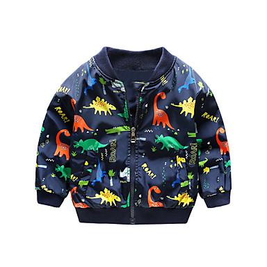 cheap Baby Boys' Outerwear-Baby Boys' Basic Dinosaur Print Long Sleeve Jacket & Coat Yellow / Toddler
