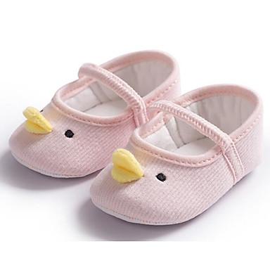 voordelige Babyschoenentjes-Meisjes Comfortabel / Eerste schoentjes Katoen Platte schoenen Zuigelingen (0-9m) Wit / Grijs / Roze Lente