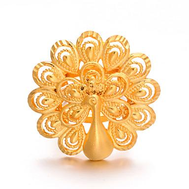 billige Motering-Dame Ring Justerbar ring 1pc Gull Kobber Annerledes Luksus Klassisk trendy Jul Fest Smykker Påfugl Søtt Smuk / Oversized
