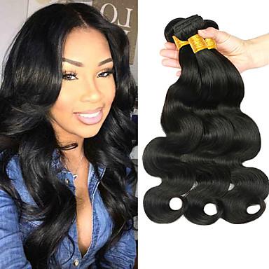 povoljno Ekstenzije od ljudske kose-3 paketa Peruanska kosa Tijelo Wave Virgin kosa 100% Remy kose tkanja Bundle Bundle kose Ekstenzije od ljudske kose Kosa potke zatvaranje 8-28 inch Prirodna boja Isprepliće ljudske kose Sigurnost