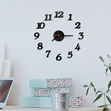 cheap Wall Clocks-Modern Style / Fashion Acrylic Round Classic Theme Indoor Battery Decoration Wall Clock Yes Black No