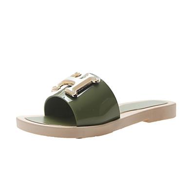 voordelige Damespantoffels & slippers-Dames PVC Zomer Slippers & Flip-Flops Platte hak Wit / Zwart / Groen