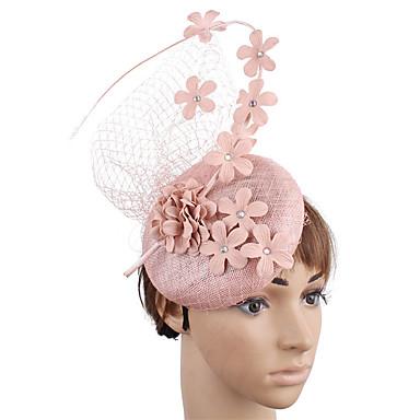 povoljno Party pokrivala za glavu-Net / Posteljina / pamuk Blend Fascinators / Cvijeće / Šešir s Perje / Cvjetni print 1 Vjenčanje / Zabava / večer Glava
