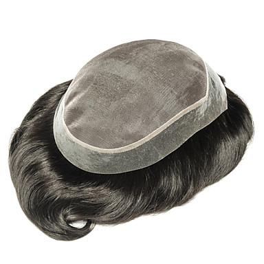 povoljno Perike i ekstenzije-Muškarci Ljudska kosa Tupe Ravan kroj Novi Dolazak / Rasprodaja / Bojanje / Crna