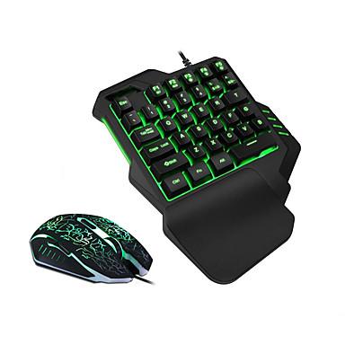 preiswerte Fantastische Spielgeräte-LITBest USB verkabelt Maus-Tastatur-Kombination Farbverläufe / Hinterleuchtet mechanische Tastatur / Gaming-Tastatur / Einhändig Wasserdicht / mit Handballenauflage Gaming Mouse 2400 dpi
