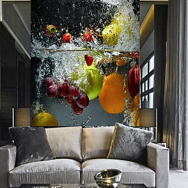 cheap Wall Art-Clear water Fruit and Vegetable Suitable for TV Background Wall Wallpaper Murals Living Room Cafe Restaurant Bedroom Office XXXL(448*280cm)