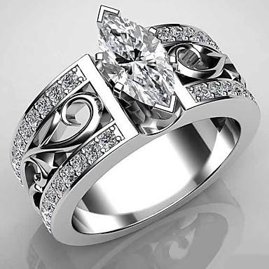 levne Dámské šperky-Dámské Band Ring Prsten Kubický zirkon 1ks Bílá Měď Geometric Shape Moderní Párty Dar Šperky Ryby Cool
