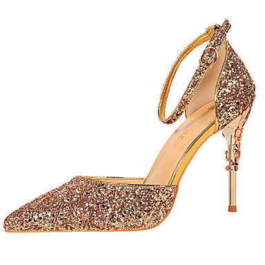cheap Sculptural Heels-Women's Synthetics Fall / Spring & Summer Sweet / British Heels Stiletto Heel Pointed Toe Sequin Rainbow / Red / Champagne / Wedding / Party & Evening
