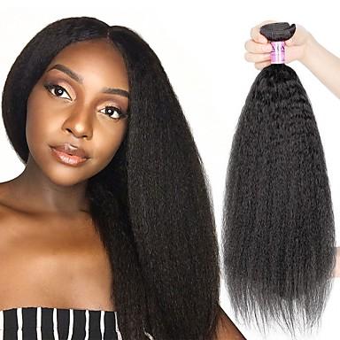 povoljno Ekstenzije od ljudske kose-3 paketa Brazilska kosa Kinky Ravno Virgin kosa Wig Accessories Ljudske kose plete Bundle kose 8-28 inch Prirodna boja Isprepliće ljudske kose Odor Free Smooth Sexy Lady Proširenja ljudske kose