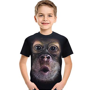 cheap Boys' Tops-Kids Toddler Boys' Active Basic Print Color Block 3D Print Short Sleeve Tee Black / Animal