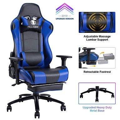 Stupendous 237 29 Killabee Big And Tall 350Lb Massage Memory Foam Gaming Chair Adjustable Massage Lumbar Cushion Retractable Footrest And 2D Arms High Back Bralicious Painted Fabric Chair Ideas Braliciousco