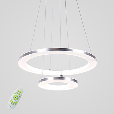 12499 Circular Pendant Light Ambient Light Others Metal Acrylic Led 90 240v Warm White White Dimmable With Remote Control Led Light Source