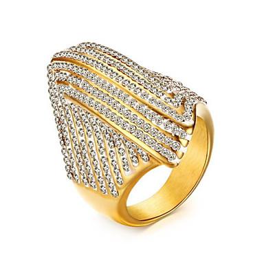 billige Motering-Dame Ring Kubisk Zirkonium High End Crystal 1pc Gull Titanium Stål Geometrisk Form Stilfull Fest Daglig Smykker Klassisk Pave Glede Kul