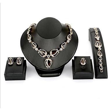 levne Dámské šperky-Dámské Bílá Kubický zirkon Svatební šperky Soupravy Klasika Růže Flower Shape Módní Elegantní Náušnice Šperky Zlatá Pro Dar Denní 4