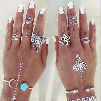levne Dámské šperky-Dámské Sada kroužků Midi prsteny Stohovatelné kroužky 8ks Duhová Štras Slitina Geometric Shape Vintage Cikánský Denní Street Šperky Vystřižený Slon Had Kytky Cool