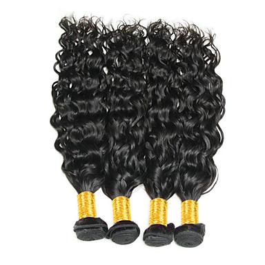 povoljno Ekstenzije od ljudske kose-4 paketića Brazilska kosa Water Wave Virgin kosa Ljudske kose plete Bundle kose Ekstenzije od ljudske kose 8-28inch Prirodna boja Isprepliće ljudske kose Odor Free Rasprodaja Bojanje Proširenja