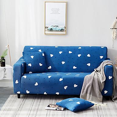 tampa do sofá coração azul impresso slipcovers de poliéster