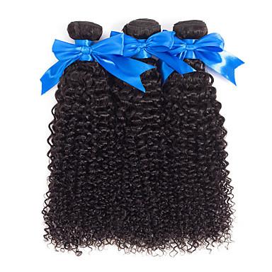 povoljno Ekstenzije od ljudske kose-3 paketa Brazilska kosa Kinky Curly Netretirana  ljudske kose 100% Remy kose tkanja Bundle Headpiece Bundle kose Ekstenzije od ljudske kose 8-28 inch Prirodna boja Isprepliće ljudske kose Odor Free